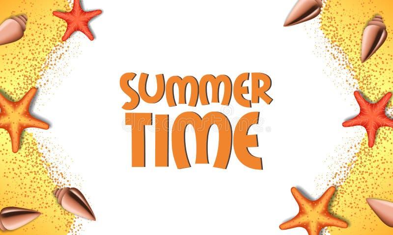 Sand för lopp för ferie för Hello sommartid från bästa sikt med sjöstjärnan och skal arkivfoto