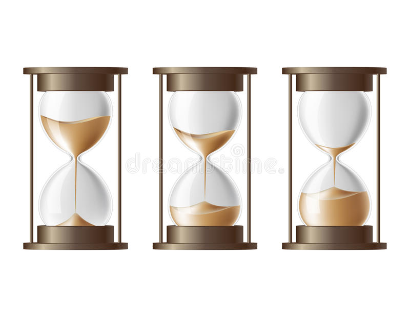 Sand falling in the hourglass. vector illustration