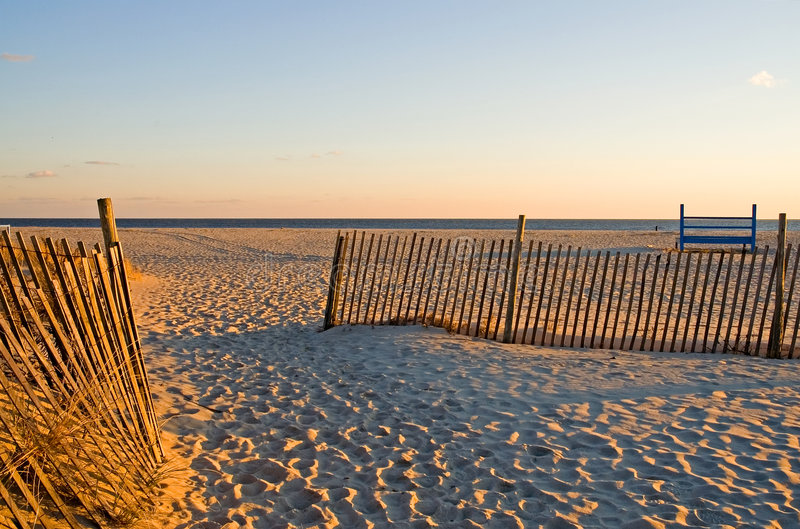 Sand Fences at the Beach royalty free stock photo