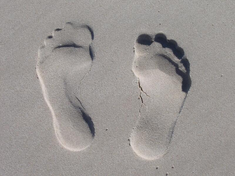 Sand Foot Prints royalty free stock photos