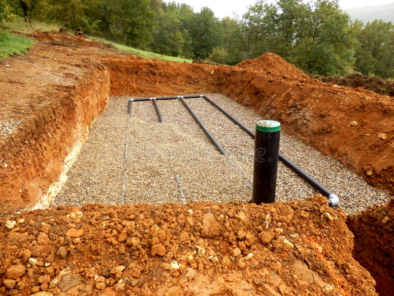 Sand and gravel drainage system stock photo image 61613116 for Soil drainage system