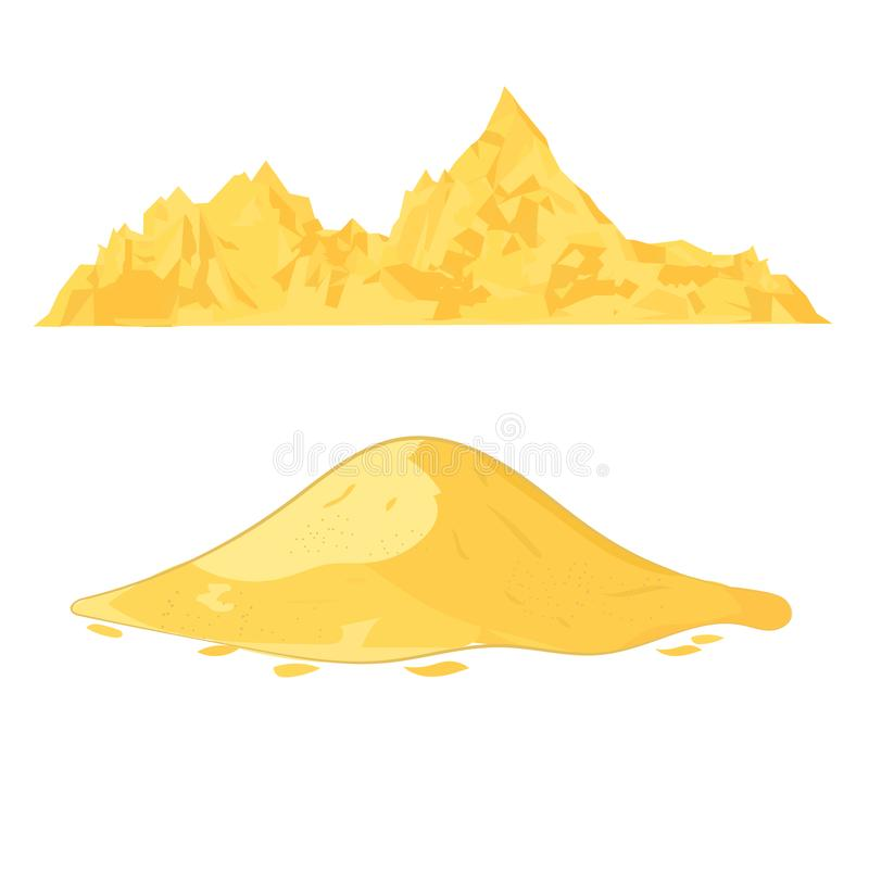 Sand heap. Cement pile or yellow sand mound cartoon vector illustration isolated on white background stock illustration