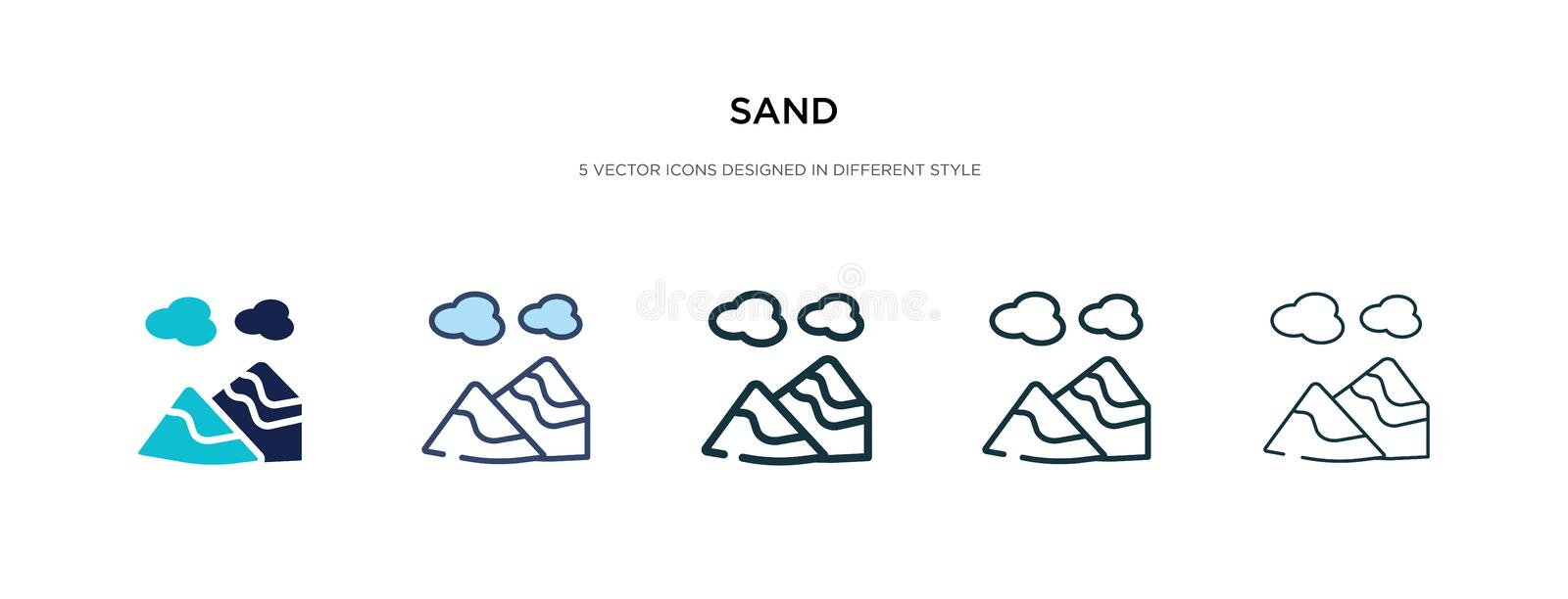 Sand icon in different style vector illustration. two colored and black sand vector icons designed in filled, outline, line and. Stroke style can be used for royalty free illustration