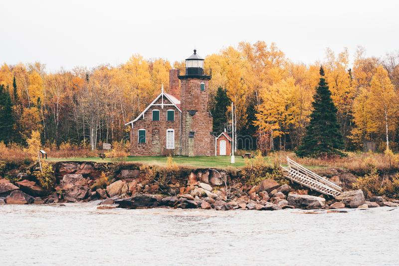 Sand Island Lighthouse in Wisconsin on Lake Superior in the Apostle Islands National Lakeshore - taken in the fall season.  royalty free stock images