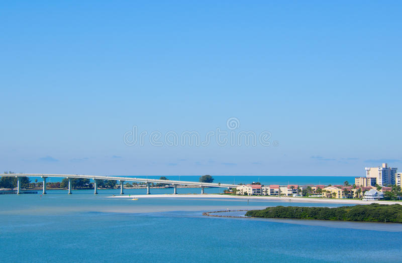 Sand Key Bridge Clearwater Beach Florida. Sand Key Bridge in Clearwater Beach, Florida which crosses Clearwater Pass that leads out to the Gulf of Mexico on a royalty free stock photos