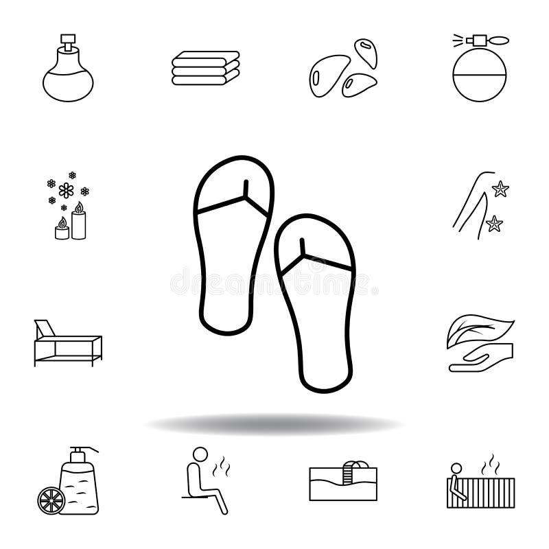 Sand?lias para o ?cone do esbo?o dos termas Grupo detalhado de termas e para relaxar o ícone das ilustrações Pode ser usado para  ilustração stock