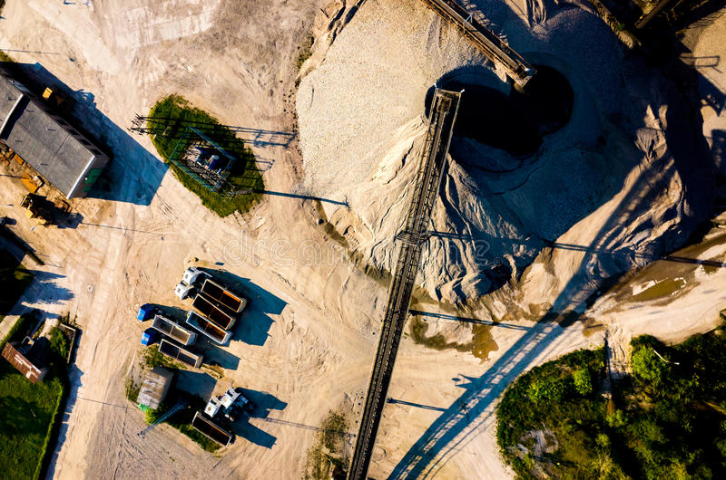 Sand mine aerial view. Aerial view on the big sand mine stock image