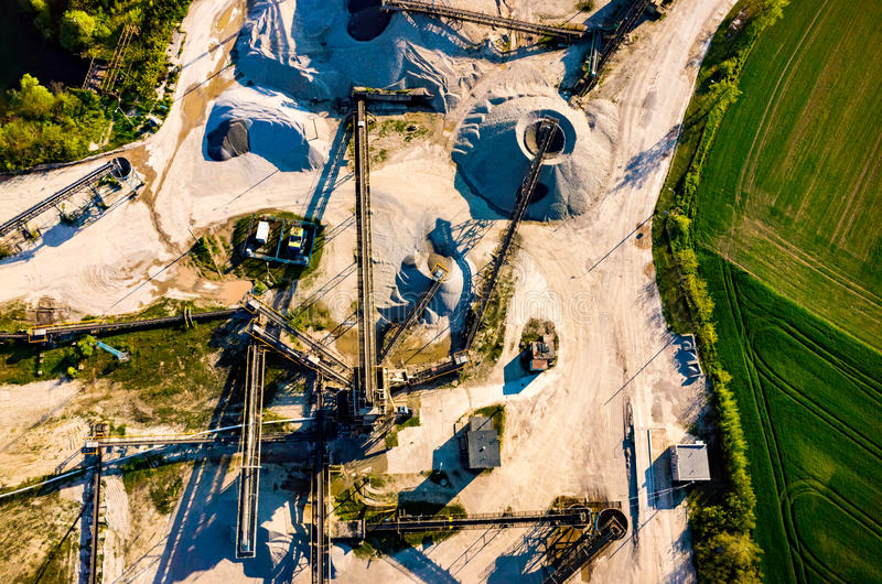 Sand mine aerial view. Aerial view on the big sand mine royalty free stock photo