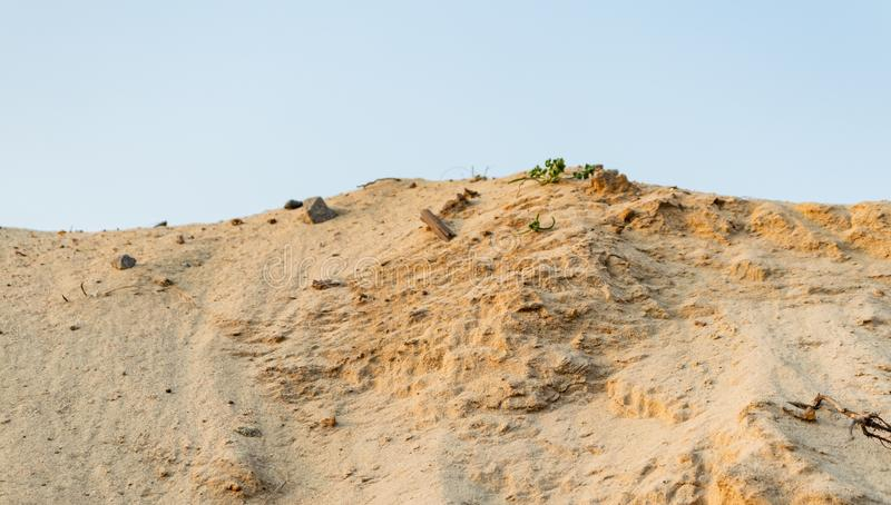 Sand pit. Industrial sand quarry. Construction industry stock photos