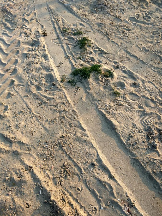 Sand with prints royalty free stock image