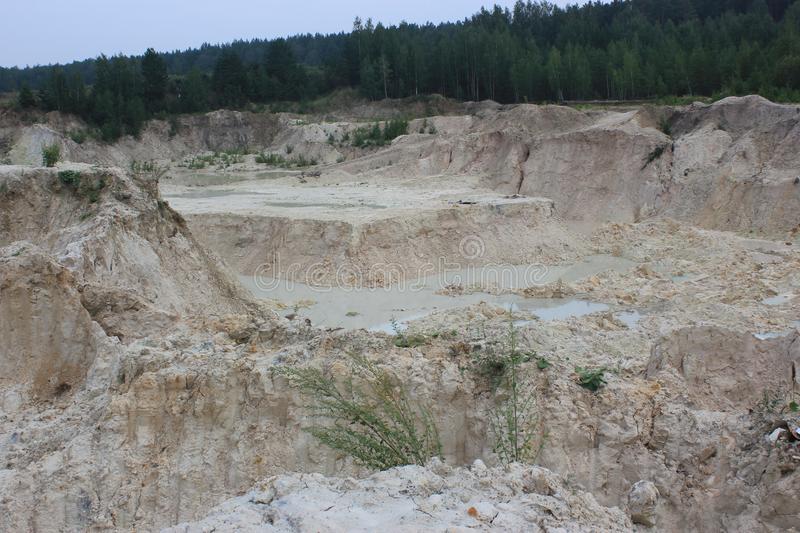 sand quarry in the forest royalty free stock photos