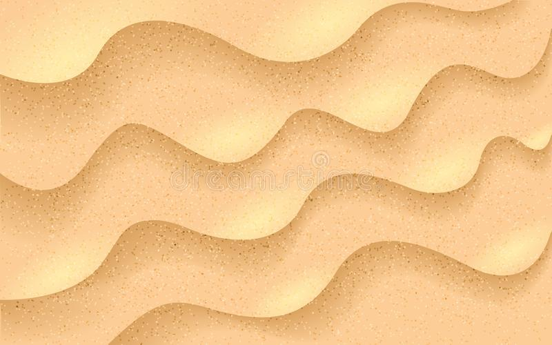 Sand realistic texture. Beach sand background. Tropical desert. Sea shore and gold dunes. Sandy waves with sun rays stock illustration