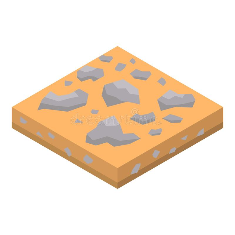 Sand rock soil icon, isometric style. Sand rock soil icon. Isometric of sand rock soil vector icon for web design isolated on white background royalty free illustration