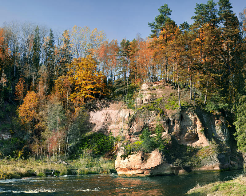 Sand rocks in Amata river, Vidzeme region, Latvia, Europe stock photos