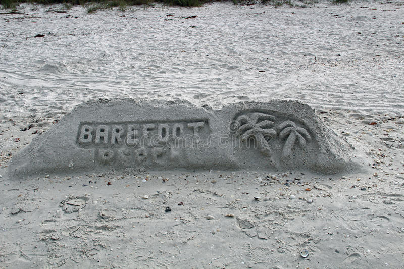 Sand Sculpture - Barefoot Beach. Sand festivals or festivals of sand sculpture are exhibitions of sculptures made of sand carried out in various places around stock photo
