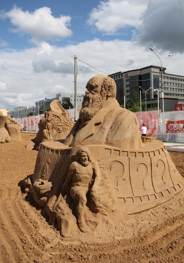 Free Sand Sculpture Charles Darwin At Festival Stock Photos - 36575453