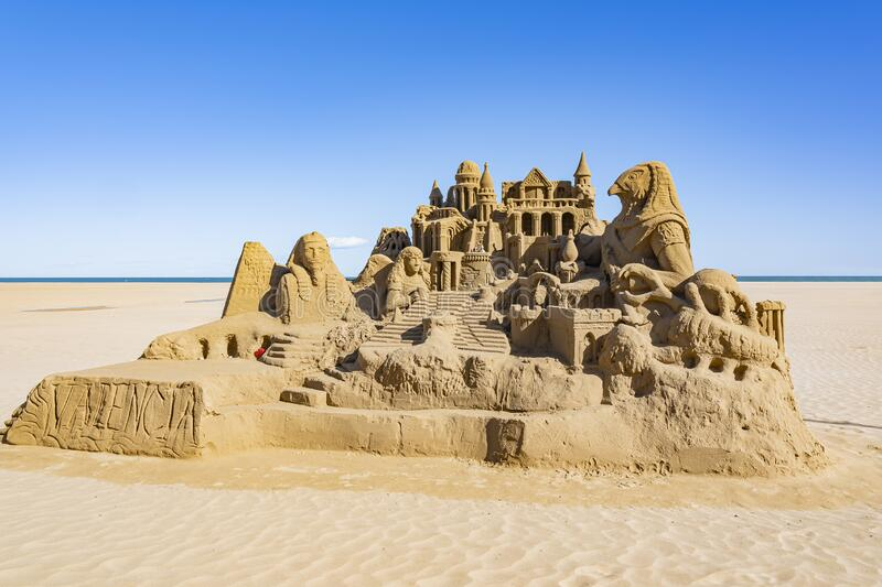 Sand Sculpture on the deserted beach of Valencia, Spain.  stock photography