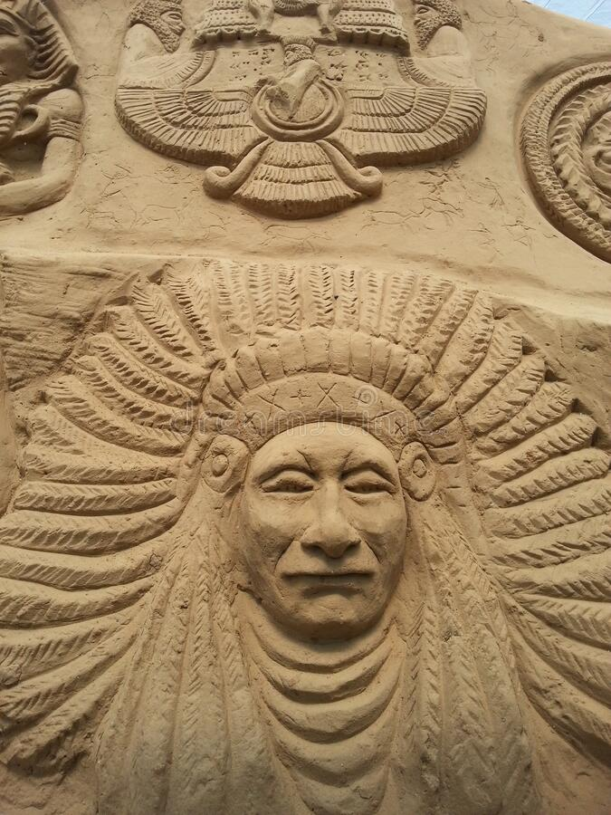 Sand sculpture image of some history Egyptian king stock photography