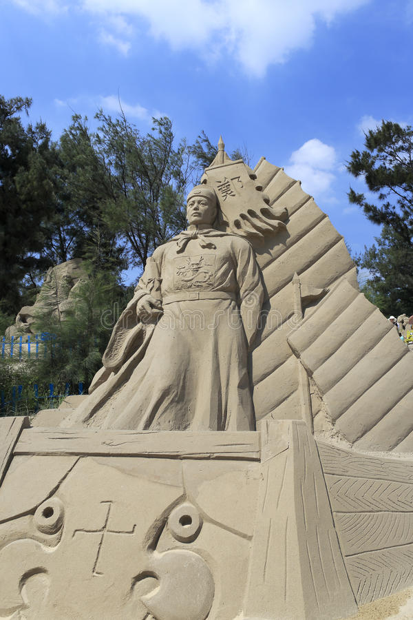 Free Sand Sculpture Of Chinese Navigator Zheng He Stock Images - 53563024