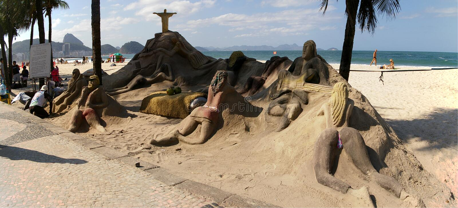 Sand sculptures on Copacabana beach stock image