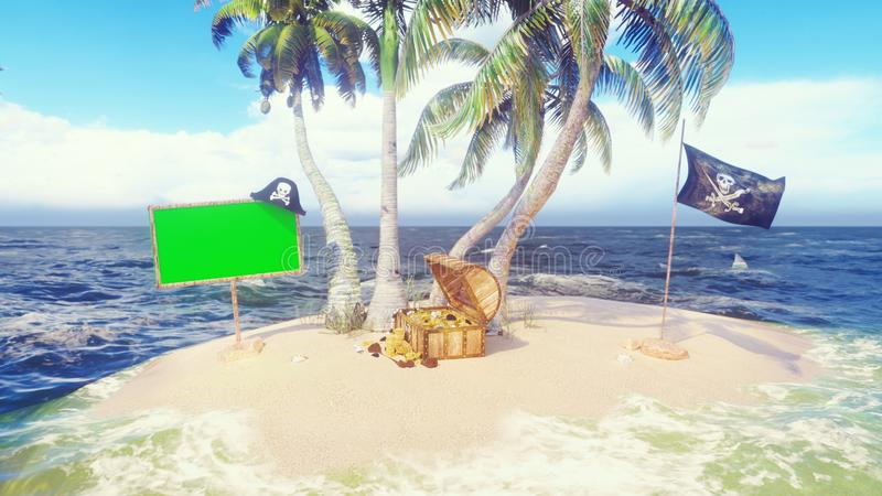 Sand, sea, sky, clouds, palm trees, sharks and summer day. Pirate island, a chest of gold, a wooden banner with a green royalty free illustration