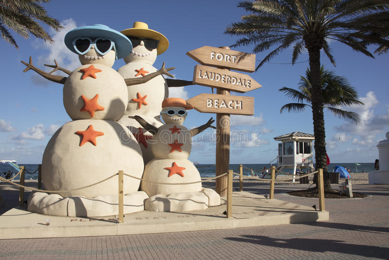 Sand Snowmen Fort Lauderdale Florida stock photography