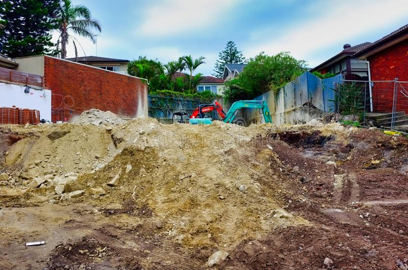 Sand and Soil Piles at Sydney Home Building Site, Australia stock photos