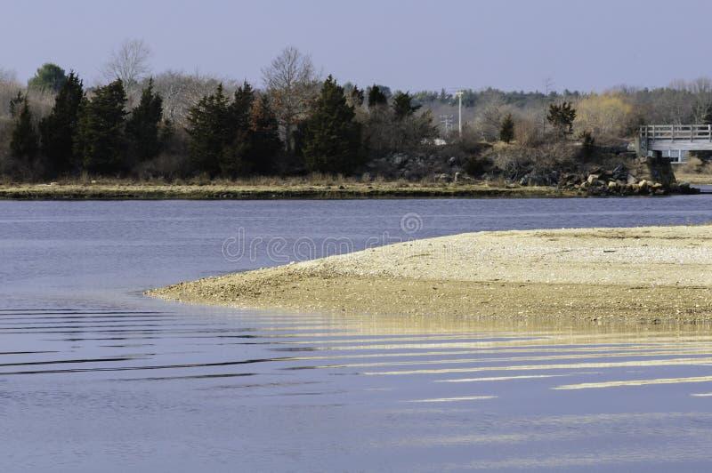 Sand spit Mattapoisett River royalty free stock photography