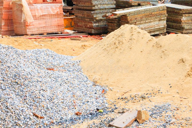 Sand and stone steel sheet pile in construction industry house renovate.  stock photography