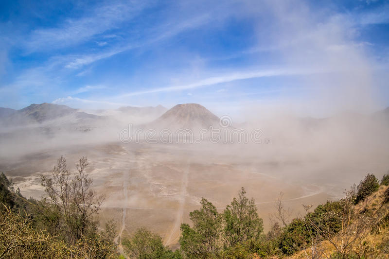 Sand Storm at Bromo Tengger Semeru National Park. Indonesia stock image