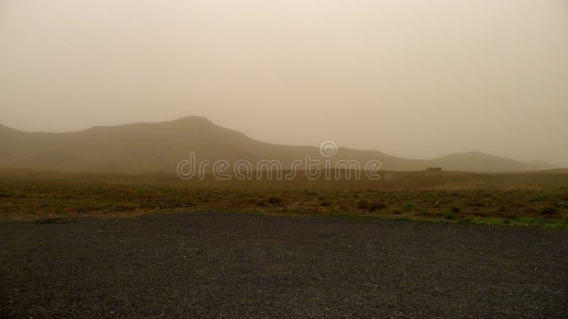 Sand storm in Fuerteventura stock image
