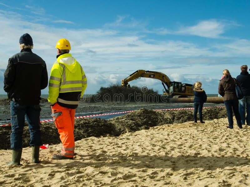 Sand suppletion Egmond aan Zee royalty free stock images