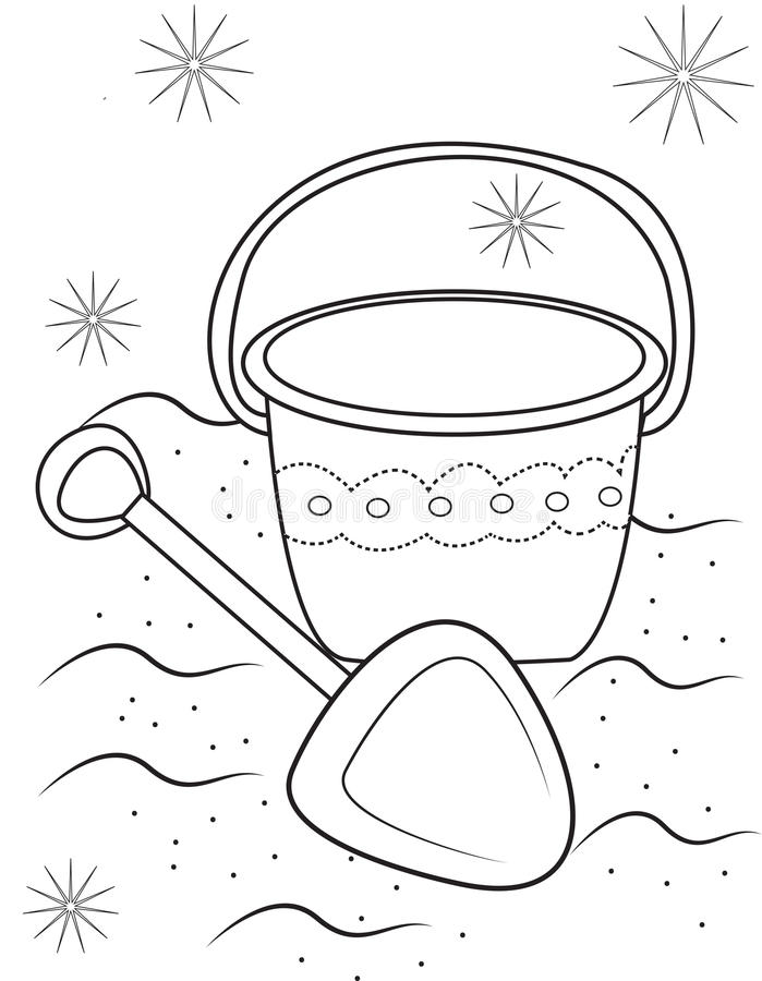 Sand toys coloring page stock illustration. Illustration of cute ...
