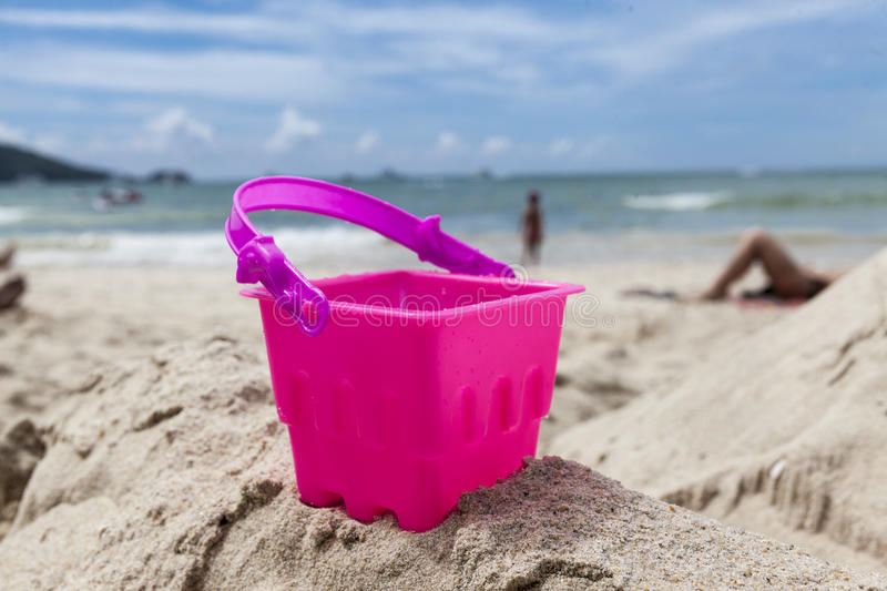 Sand toys waiting for children to play on the beach .Tailand Krabi. royalty free stock photo
