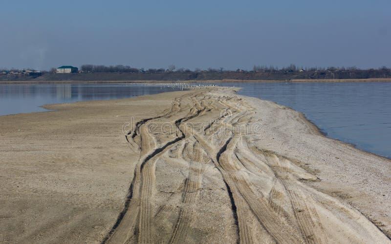 Sand tracks stock image