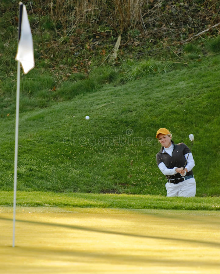 Sand trap golf shot royalty free stock photos