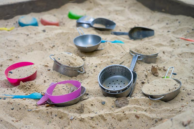 Sand tub and play in the park to enhance the development of young children. Child development concept royalty free stock photos