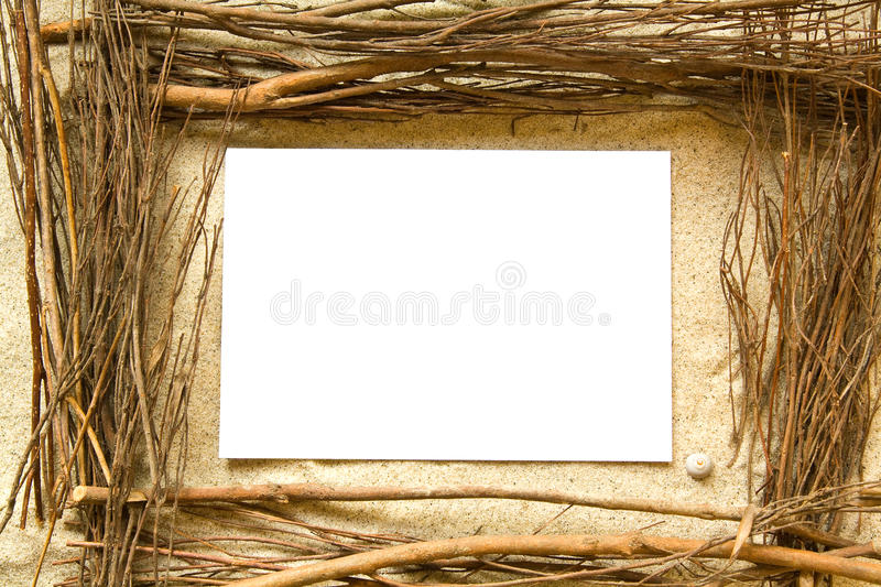 Sand and twigs frame stock photos