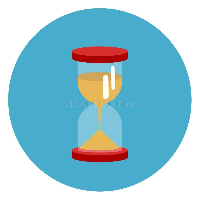 Sand-Uhr-Ikonen-Netz-Knopf auf rundem blauem Hintergrund lizenzfreie abbildung