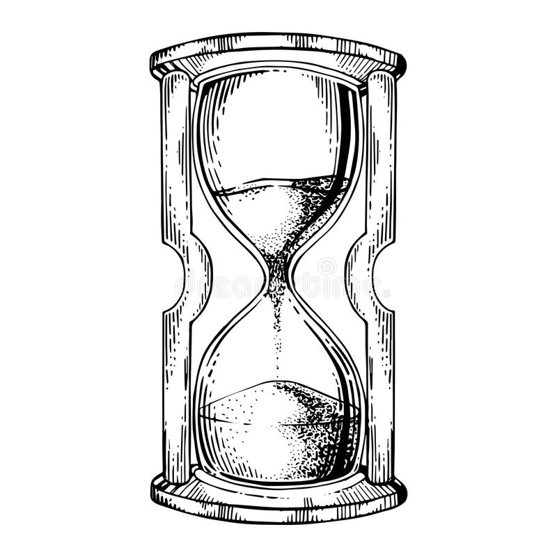 Sand watch glass engraving vector illustration. Scratch board style imitation. Black and white hand drawn image royalty free illustration