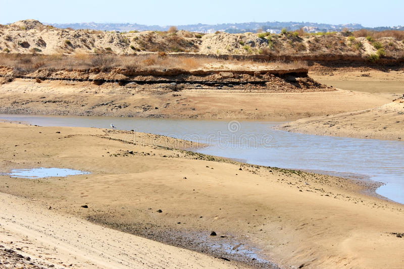 Sand, water and dunes of Ria de Alvor, Portugal royalty free stock photography