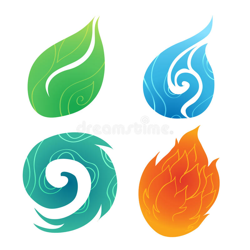 Sand Water Wind Fire. Four element ,abstract element stock illustration