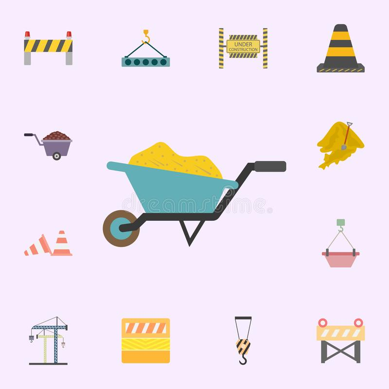 Sand In wheelbarrow colored icon. Building materials icons universal set for web and mobile. On color background stock illustration