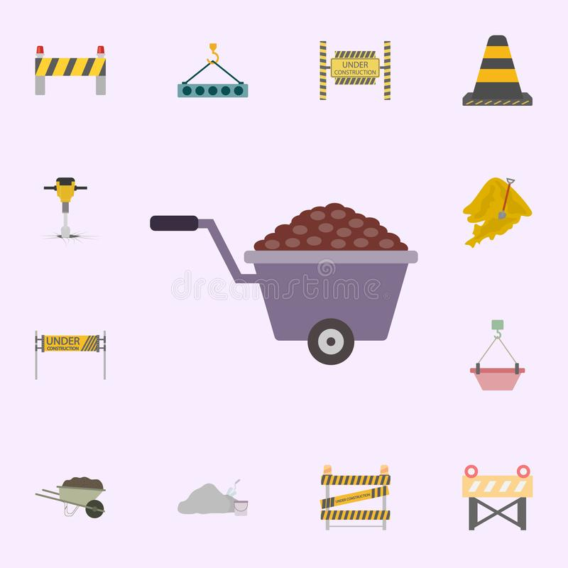 Sand In wheelbarrow colored icon. Building materials icons universal set for web and mobile. On color background vector illustration