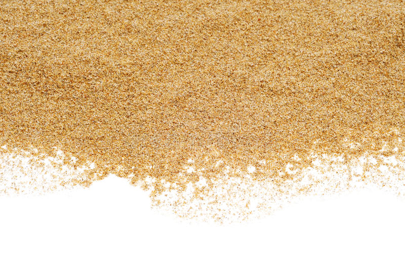 Sand on a white background royalty free stock photo