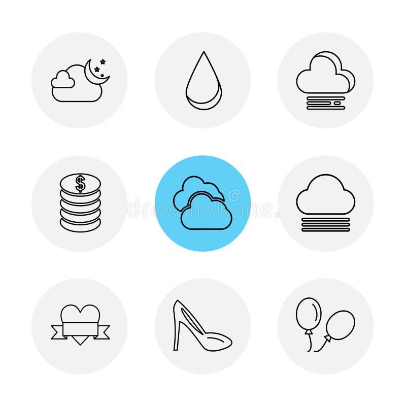sandal ballonger, mynt, ekologi, eco, symboler, väder, en vektor illustrationer