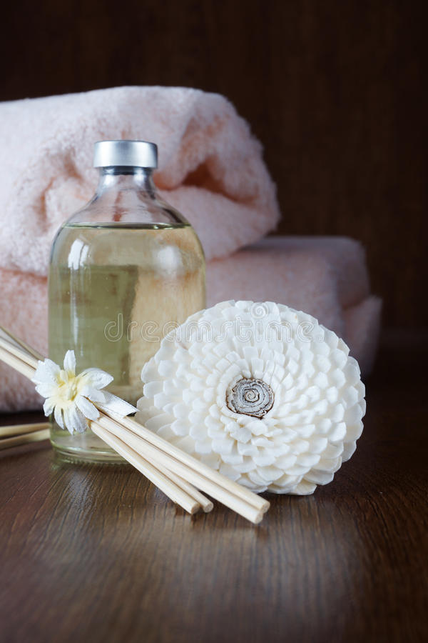 Download Sandal Oil And Sticks On Wooden Surface Stock Image - Image: 38708933