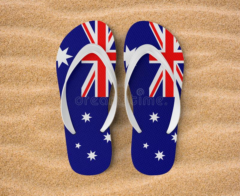 Sandalefinger oder -pantoffel, in der Illustration 3d, australisch stockfotografie
