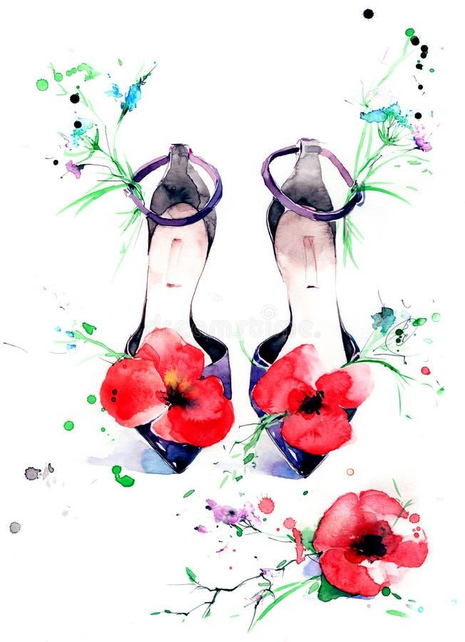Sandaler stock illustrationer