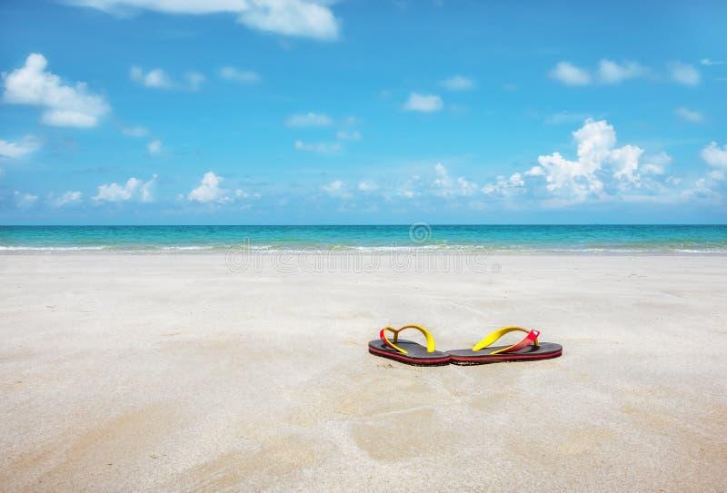 Sandaler på ren sand arkivfoto